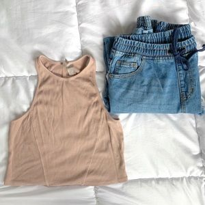 H&M High Neck Ribbed Crop Top Dusty Pink